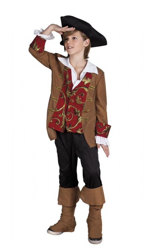 Boys Deluxe Pirate Costume Childrens Buccaneer Caribbean Pedro Pirate Fancy Dress Outfit 7-9 Years